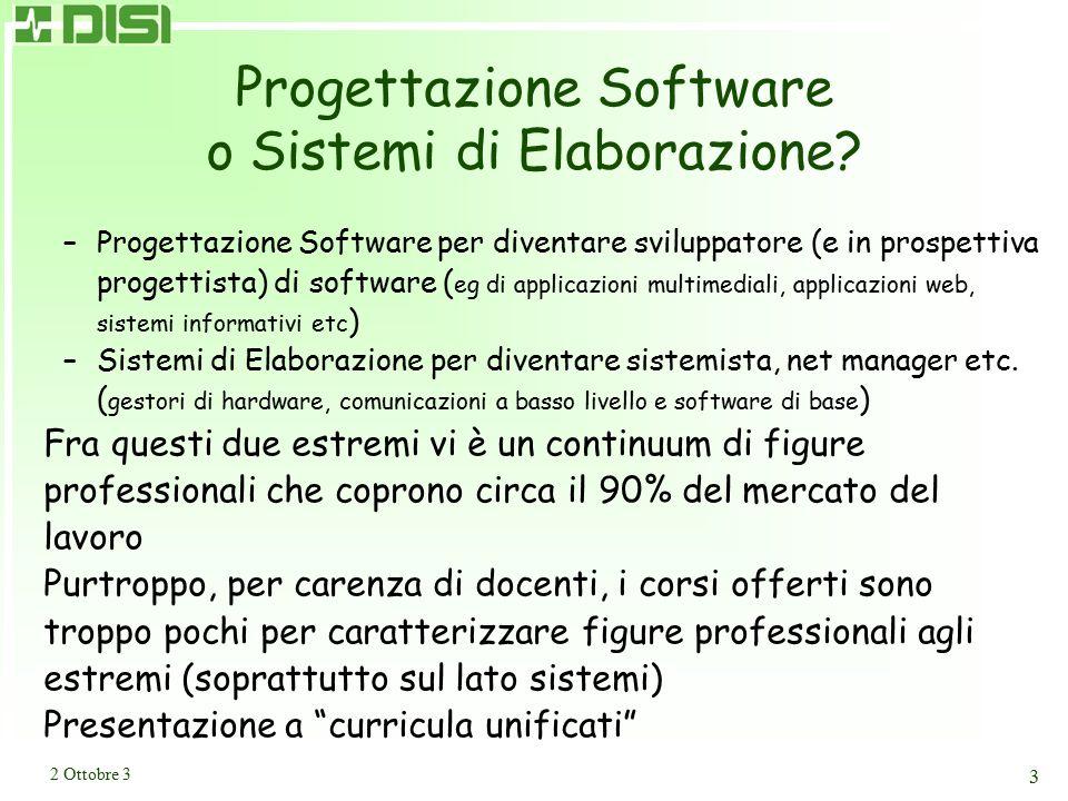 2 Ottobre 3 3 Progettazione Software o Sistemi di Elaborazione? –Progettazione Software per diventare sviluppatore (e in prospettiva progettista) di s