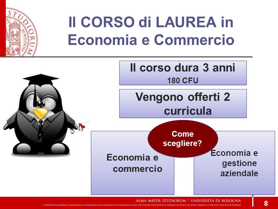 Il CORSO di LAUREA in Economia e Commercio 8 Il corso dura 3 anni 180 CFU Il corso dura 3 anni 180 CFU Economia e commercio Economia e gestione aziendale Vengono offerti 2 curricula Come scegliere?