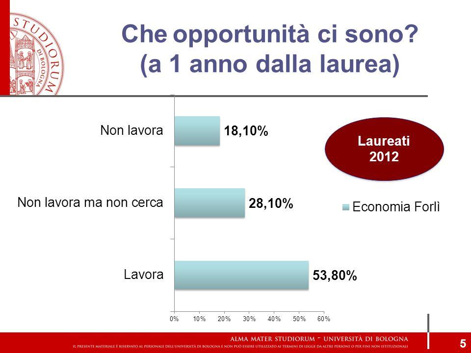 Che opportunità ci sono? (a 1 anno dalla laurea) 5 Laureati 2012