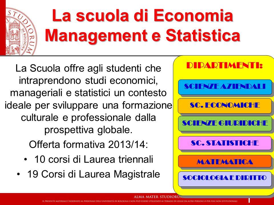 La scuola di Economia Management e Statistica La Scuola offre agli studenti che intraprendono studi economici, manageriali e statistici un contesto ideale per sviluppare una formazione culturale e professionale dalla prospettiva globale.