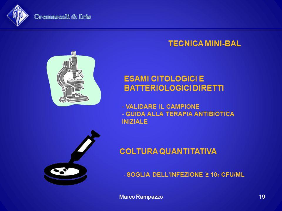 TECNICA MINI-BAL ESAMI CITOLOGICI E BATTERIOLOGICI DIRETTI - VALIDARE IL CAMPIONE - GUIDA ALLA TERAPIA ANTIBIOTICA INIZIALE COLTURA QUANTITATIVA - SOGLIA DELL'INFEZIONE ≥ 10 4 CFU/ML 19Marco Rampazzo