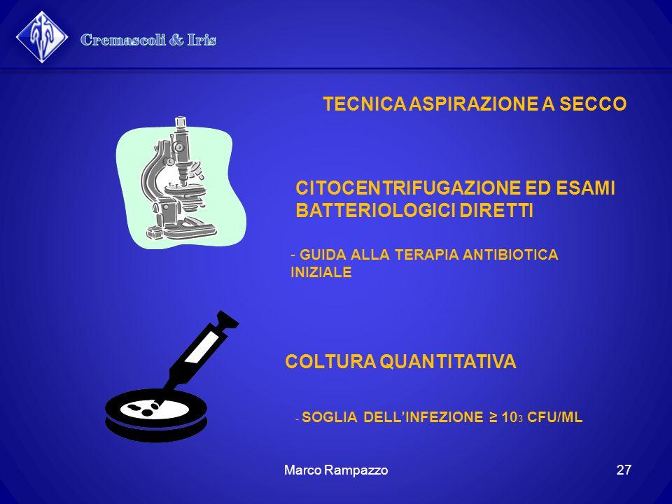 CITOCENTRIFUGAZIONE ED ESAMI BATTERIOLOGICI DIRETTI - GUIDA ALLA TERAPIA ANTIBIOTICA INIZIALE COLTURA QUANTITATIVA - SOGLIA DELL'INFEZIONE ≥ 10 3 CFU/ML TECNICA ASPIRAZIONE A SECCO 27Marco Rampazzo
