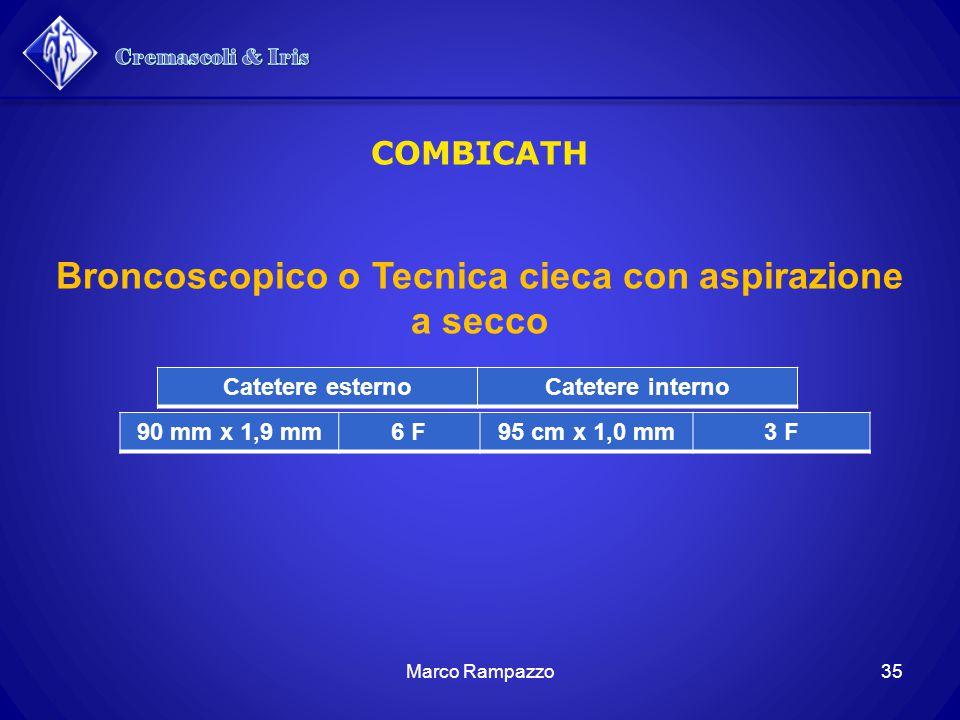 35Marco Rampazzo COMBICATH Catetere esternoCatetere interno 90 mm x 1,9 mm6 F95 cm x 1,0 mm3 F Broncoscopico o Tecnica cieca con aspirazione a secco