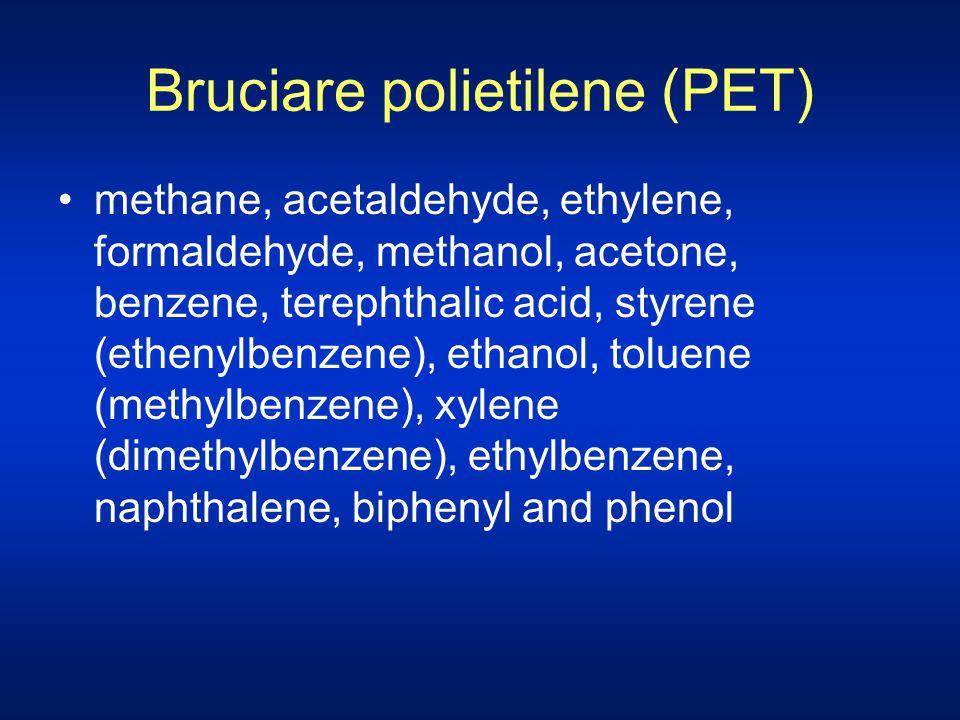 Bruciare polietilene (PET) methane, acetaldehyde, ethylene, formaldehyde, methanol, acetone, benzene, terephthalic acid, styrene (ethenylbenzene), eth