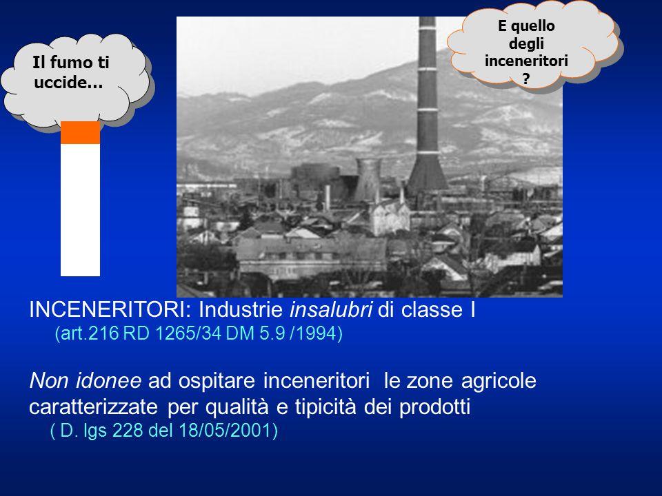 Il fumo ti uccide… E quello degli inceneritori ? E quello degli inceneritori ? INCENERITORI: Industrie insalubri di classe I (art.216 RD 1265/34 DM 5.