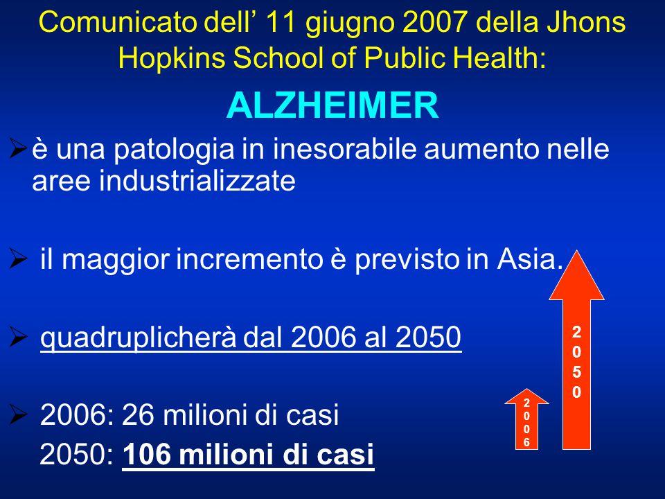 Comunicato dell' 11 giugno 2007 della Jhons Hopkins School of Public Health: ALZHEIMER  è una patologia in inesorabile aumento nelle aree industriali