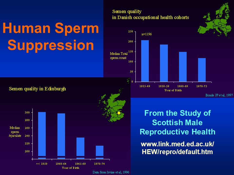 Human Sperm Suppression From the Study of Scottish Male Reproductive Health www.link.med.ed.ac.uk/ HEW/repro/default.htm