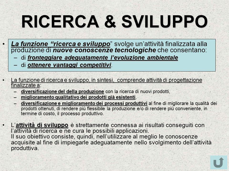 """RICERCA & SVILUPPO La funzione """"ricerca e sviluppo nuove conoscenze tecnologicheLa funzione """"ricerca e sviluppo"""" svolge un'attività finalizzata alla p"""