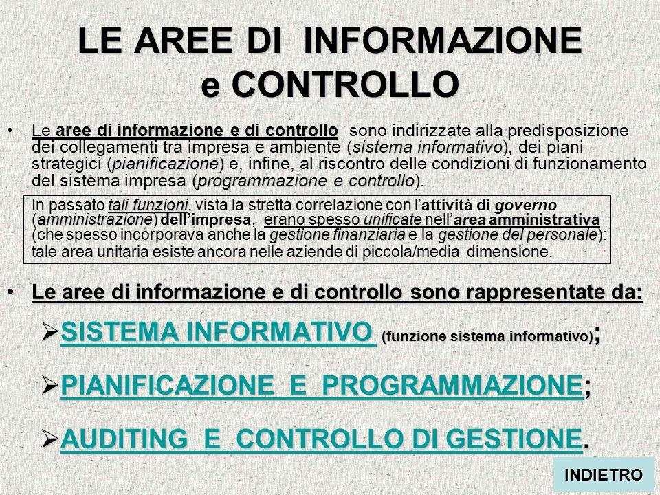 LE AREE DI INFORMAZIONE e CONTROLLO aree di informazione e di controllo sistema informativo pianificazione programmazione e controllo tali funzioni am