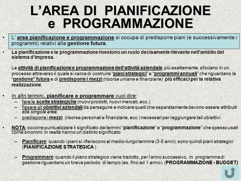 L'AREA DI PIANIFICAZIONE e PROGRAMMAZIONE area pianificazione e programmazione futuraL' area pianificazione e programmazione si occupa di predisporre piani (e successivamente i programmi) relativi alla gestione futura.