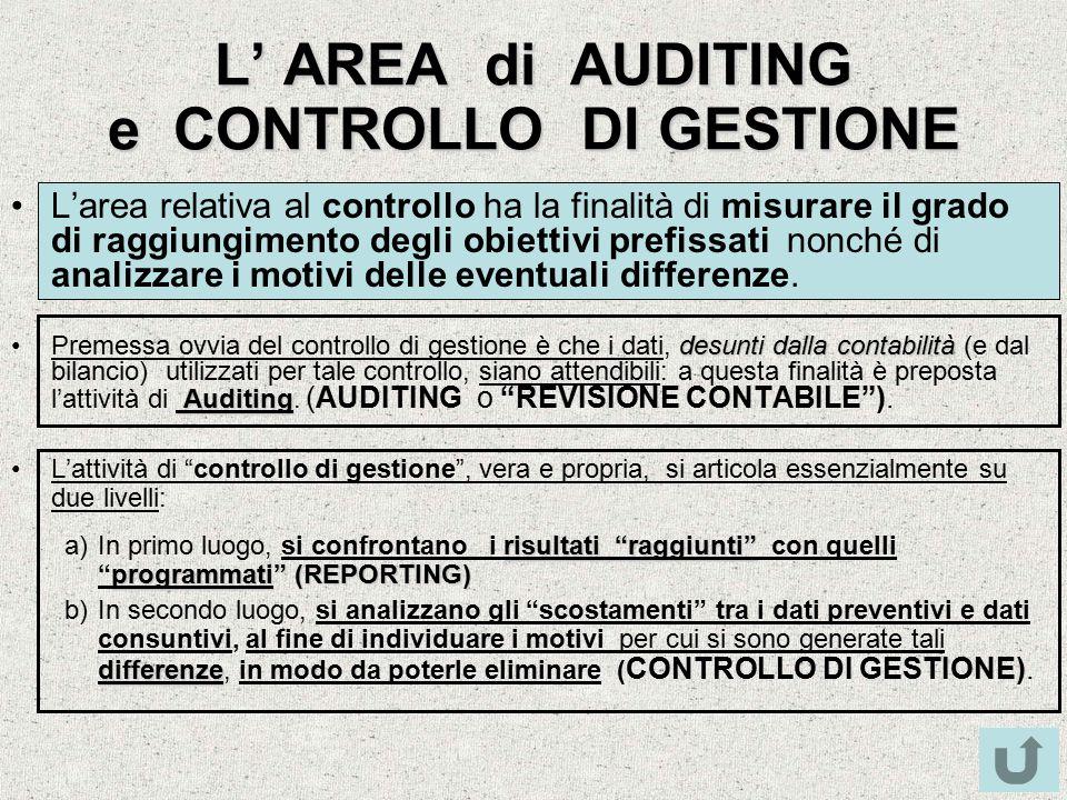 L' AREA di AUDITING e CONTROLLO DI GESTIONE L'area relativa al controllo ha la finalità di misurare il grado di raggiungimento degli obiettivi prefiss