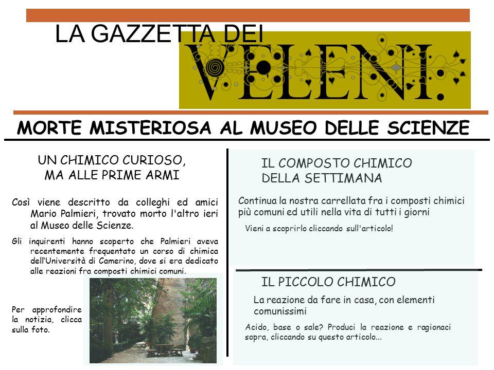 UN CHIMICO CURIOSO, MA ALLE PRIME ARMI Così viene descritto da colleghi ed amici Mario Palmieri, trovato morto l'altro ieri al Museo delle Scienze. Gl