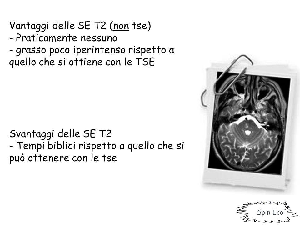 Vantaggi delle SE T2 (non tse) - Praticamente nessuno - grasso poco iperintenso rispetto a quello che si ottiene con le TSE Svantaggi delle SE T2 - Te
