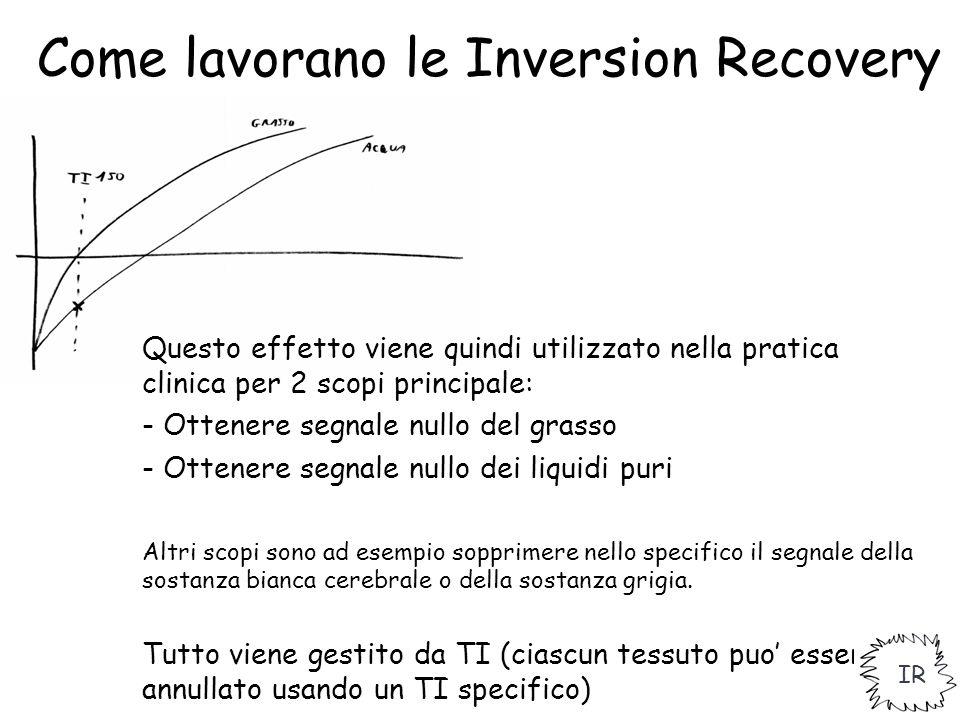 Come lavorano le Inversion Recovery Questo effetto viene quindi utilizzato nella pratica clinica per 2 scopi principale: - Ottenere segnale nullo del