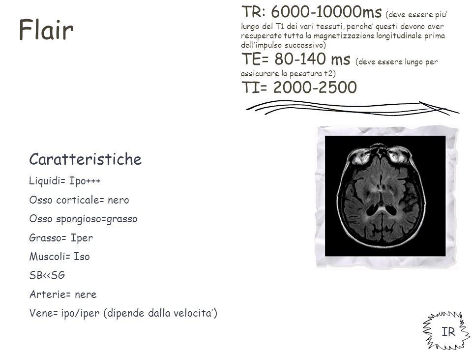 TR: 6000-10000ms (deve essere piu' lungo del T1 dei vari tessuti, perche' questi devono aver recuperato tutta la magnetizzazione longitudinale prima d