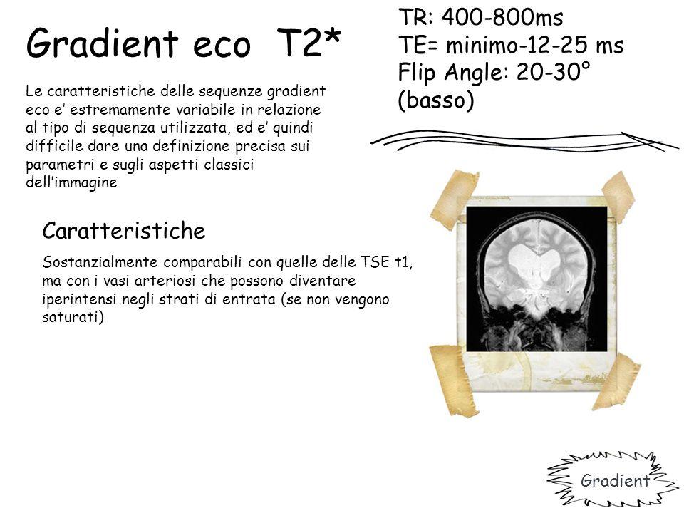 TR: 400-800ms TE= minimo-12-25 ms Flip Angle: 20-30° (basso) Caratteristiche Sostanzialmente comparabili con quelle delle TSE t1, ma con i vasi arteri