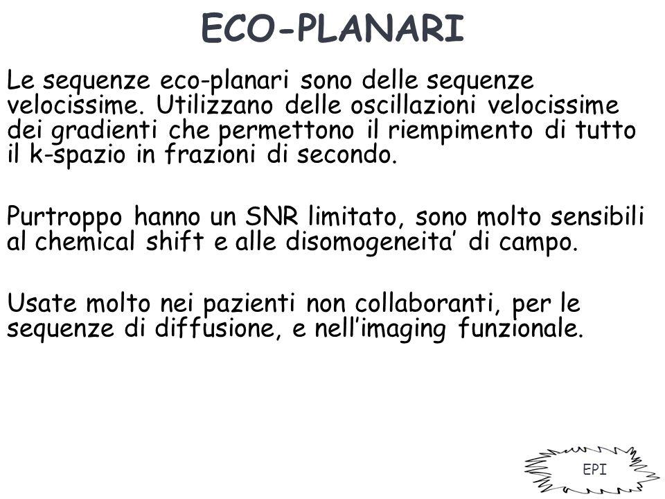 ECO-PLANARI Le sequenze eco-planari sono delle sequenze velocissime. Utilizzano delle oscillazioni velocissime dei gradienti che permettono il riempim