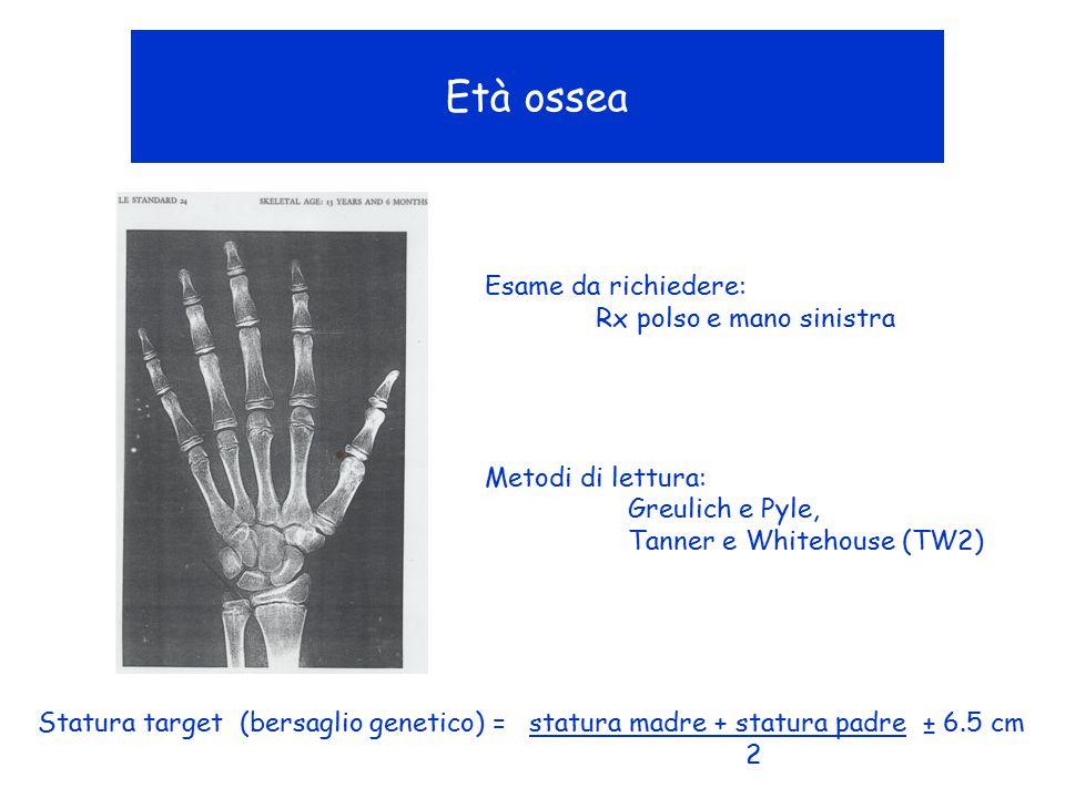 Età ossea Esame da richiedere: Rx polso e mano sinistra Metodi di lettura: Greulich e Pyle, Tanner e Whitehouse (TW2) Statura target (bersaglio geneti