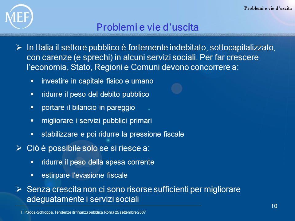 T. Padoa-Schioppa, Tendenze di finanza pubblica, Roma 25 settembre 2007 10 Problemi e vie d'uscita  In Italia il settore pubblico è fortemente indebi