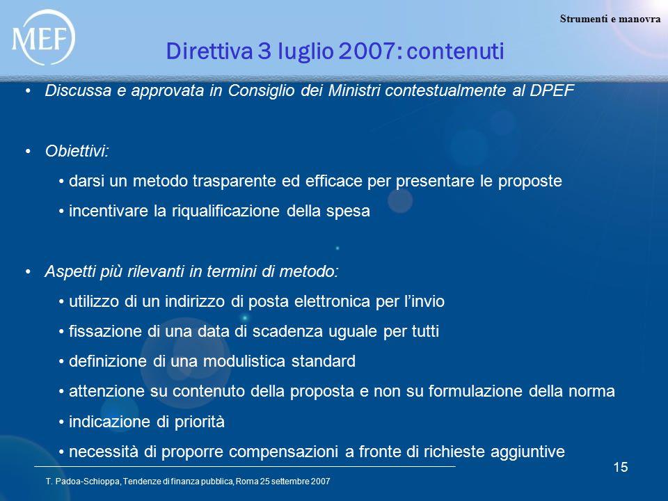 T. Padoa-Schioppa, Tendenze di finanza pubblica, Roma 25 settembre 2007 15 Direttiva 3 luglio 2007: contenuti Discussa e approvata in Consiglio dei Mi