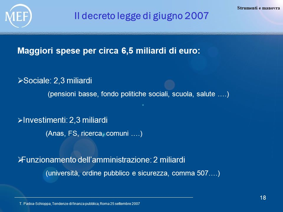 T. Padoa-Schioppa, Tendenze di finanza pubblica, Roma 25 settembre 2007 18 Il decreto legge di giugno 2007 Maggiori spese per circa 6,5 miliardi di eu