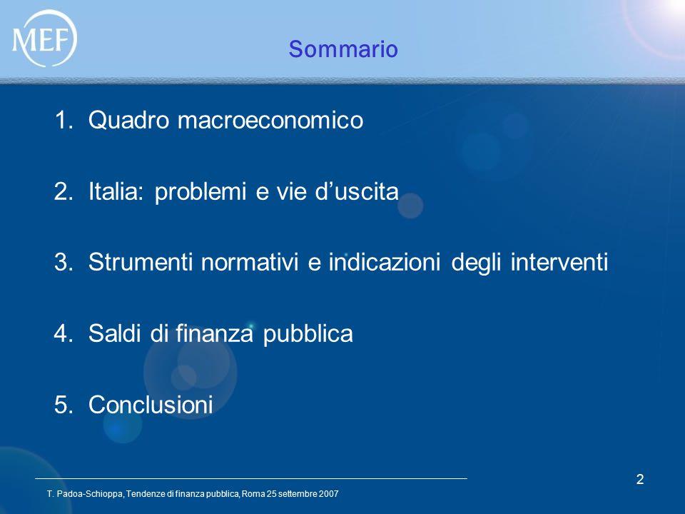 T. Padoa-Schioppa, Tendenze di finanza pubblica, Roma 25 settembre 2007 2 Sommario 1.Quadro macroeconomico 2.Italia: problemi e vie d'uscita 3.Strumen