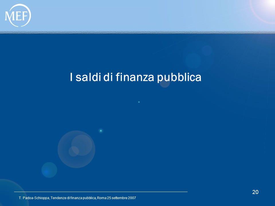 T. Padoa-Schioppa, Tendenze di finanza pubblica, Roma 25 settembre 2007 20 I saldi di finanza pubblica