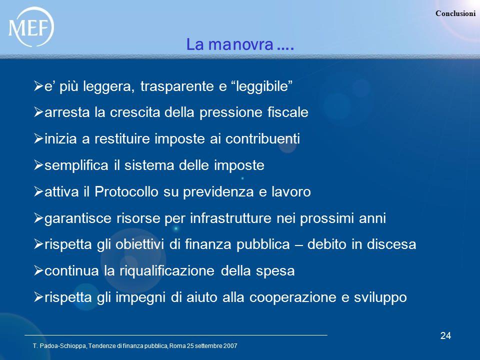 """T. Padoa-Schioppa, Tendenze di finanza pubblica, Roma 25 settembre 2007 24 Conclusioni La manovra ….  e' più leggera, trasparente e """"leggibile""""  arr"""