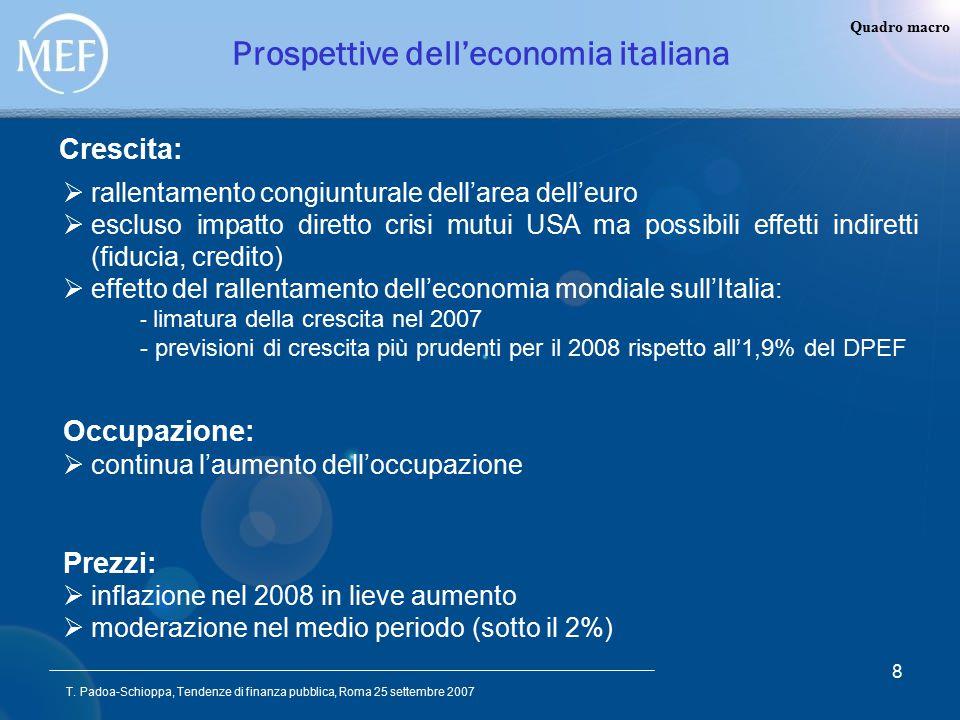 T. Padoa-Schioppa, Tendenze di finanza pubblica, Roma 25 settembre 2007 8 Prospettive dell'economia italiana  rallentamento congiunturale dell'area d