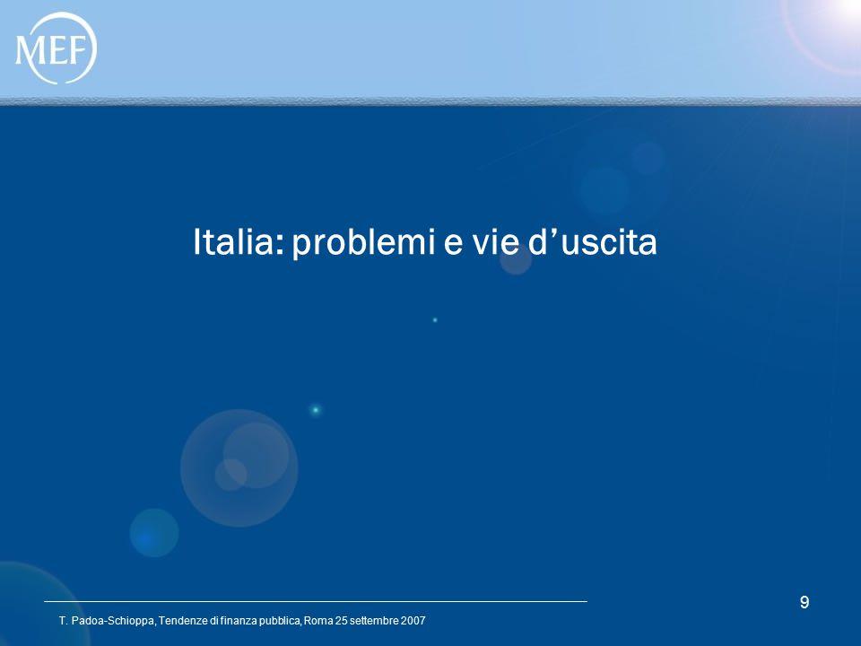 T. Padoa-Schioppa, Tendenze di finanza pubblica, Roma 25 settembre 2007 9 Italia: problemi e vie d'uscita