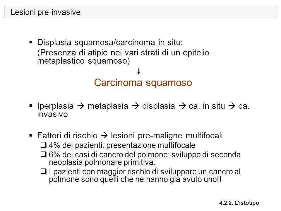 Lesioni pre-invasive 4.2.2. L'istotipo  Displasia squamosa/carcinoma in situ: (Presenza di atipie nei vari strati di un epitelio metaplastico squamos
