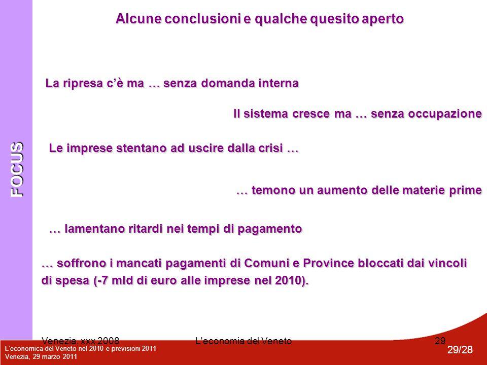 L'economica del Veneto nel 2010 e previsioni 2011 Venezia, 29 marzo 2011 29/28 Venezia, xxx 2008L'economia del Veneto29 FOCUS Alcune conclusioni e qua