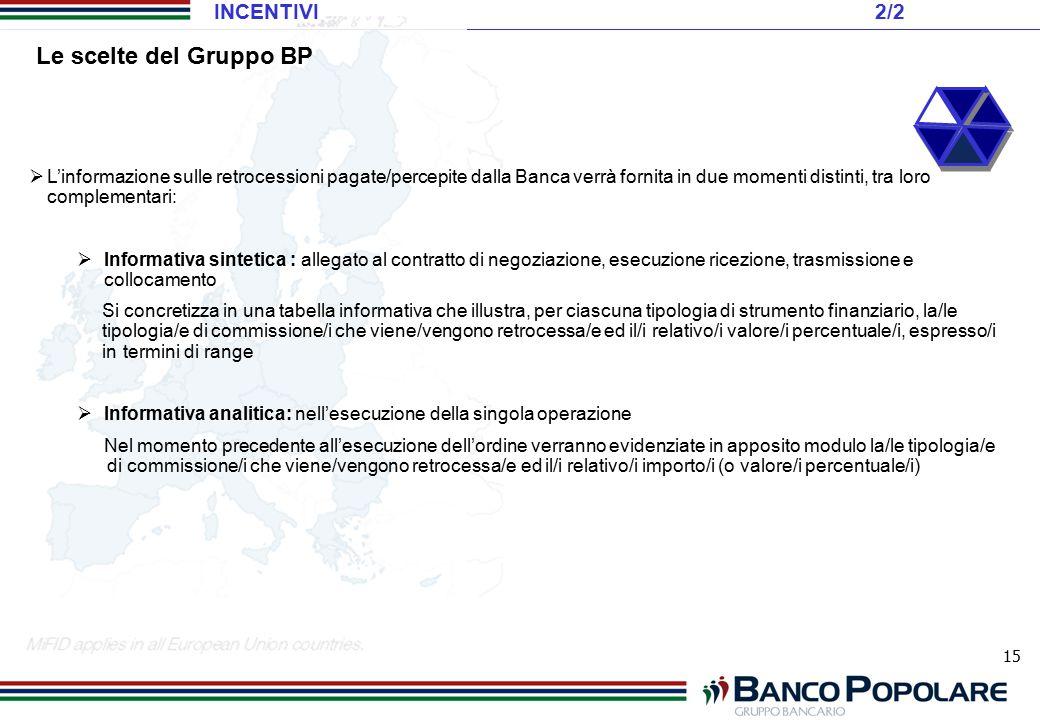 15  L'informazione sulle retrocessioni pagate/percepite dalla Banca verrà fornita in due momenti distinti, tra loro complementari:  Informativa sint