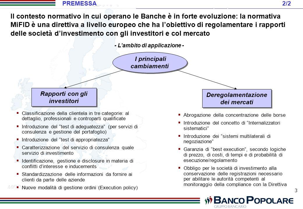 3 Rapporti con gli investitori I principali cambiamenti Deregolamentazione dei mercati - L'ambito di applicazione -  Classificazione della clientela