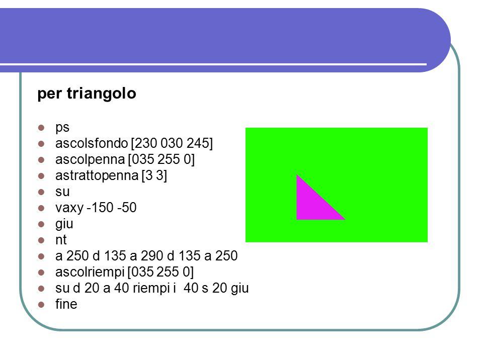 per rettangolobis ps ascolsfondo [0 0 255] ascolpenna [255 0 0] astrattopenna [7 7] su vaxy -250 +50 giu nt a 200 d 90 a 400 d 90 a 200 d 90 a 400 fine