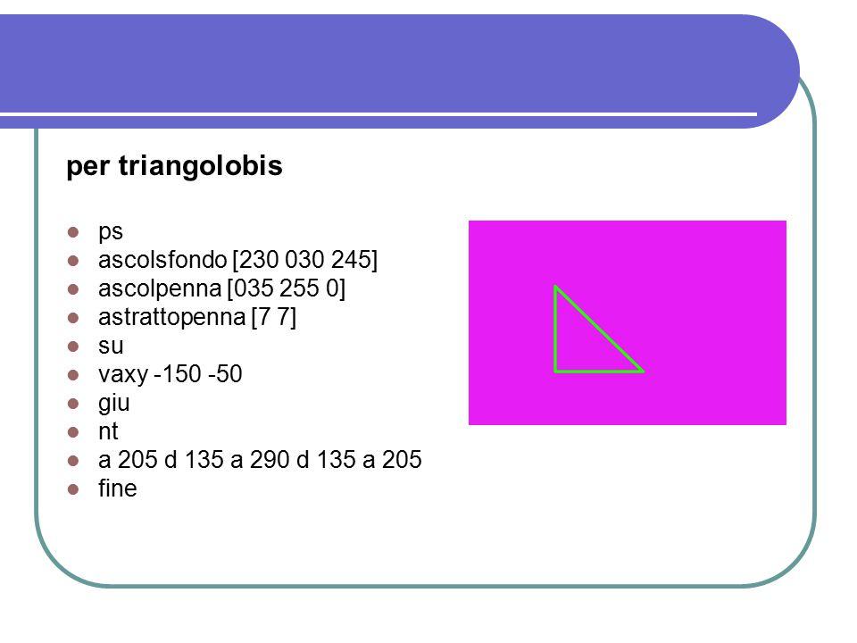 per triangolo ps ascolsfondo [230 030 245] ascolpenna [035 255 0] astrattopenna [3 3] su vaxy -150 -50 giu nt a 250 d 135 a 290 d 135 a 250 ascolriempi [035 255 0] su d 20 a 40 riempi i 40 s 20 giu fine