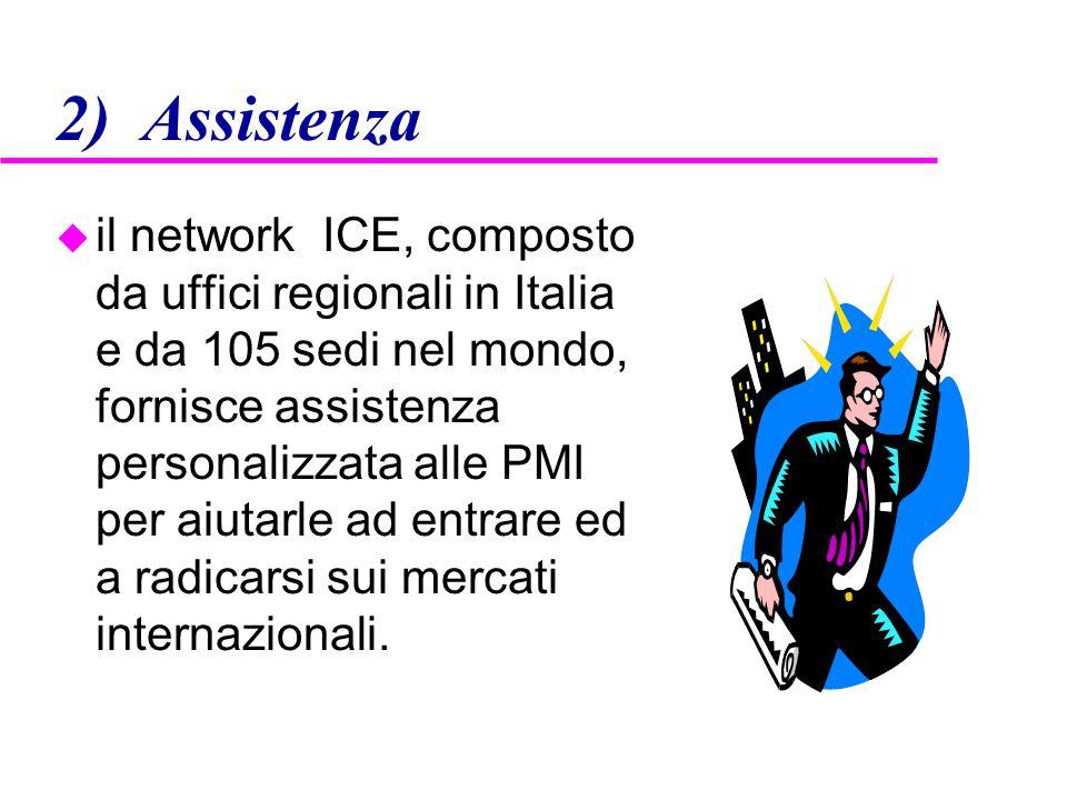 2) Assistenza u il network ICE, composto da uffici regionali in Italia e da 105 sedi nel mondo, fornisce assistenza personalizzata alle PMI per aiutar