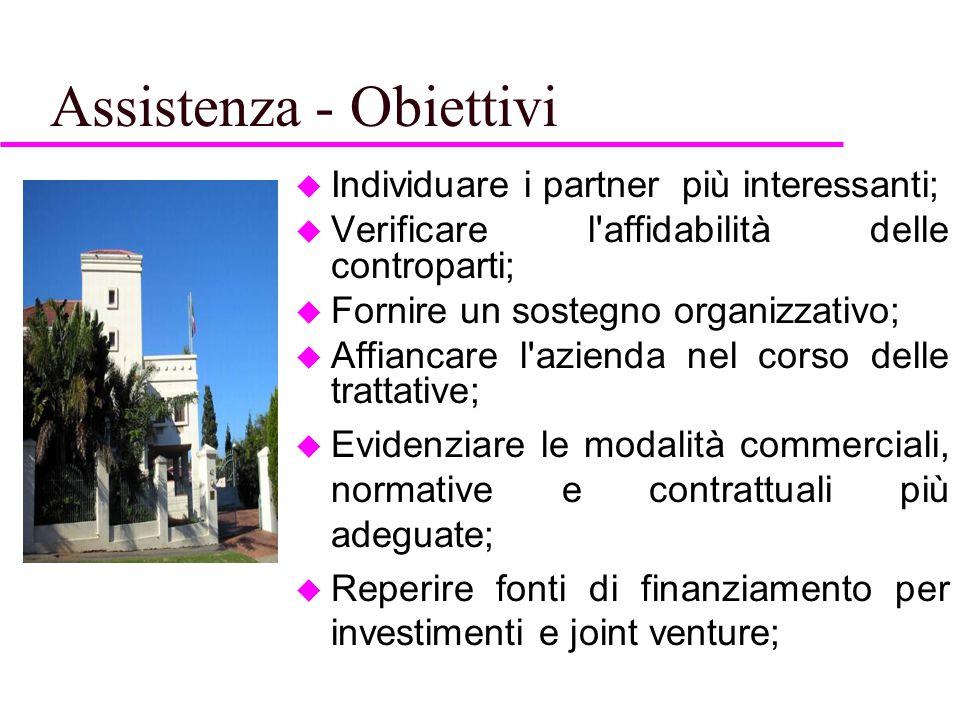 Assistenza - Obiettivi  Individuare i partner più interessanti;  Verificare l'affidabilità delle controparti;  Fornire un sostegno organizzativo; 