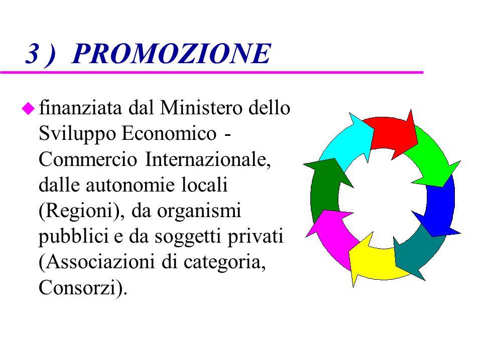 3 ) PROMOZIONE u finanziata dal Ministero dello Sviluppo Economico - Commercio Internazionale, dalle autonomie locali (Regioni), da organismi pubblici