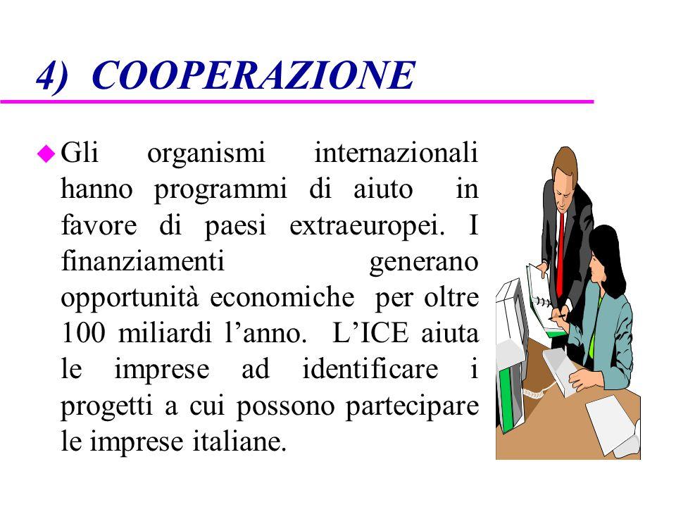 4) COOPERAZIONE u Gli organismi internazionali hanno programmi di aiuto in favore di paesi extraeuropei. I finanziamenti generano opportunità economic