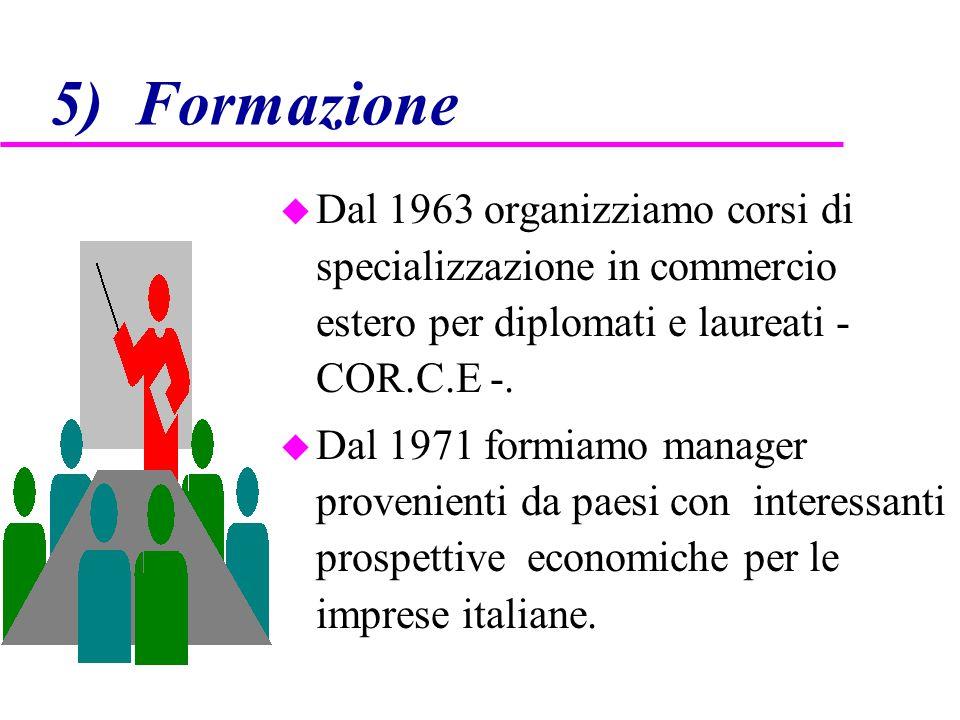 5) Formazione u Dal 1963 organizziamo corsi di specializzazione in commercio estero per diplomati e laureati - COR.C.E -. u Dal 1971 formiamo manager