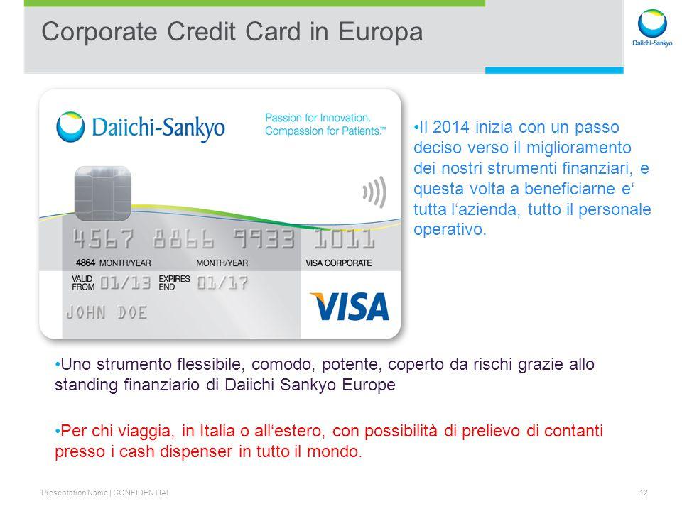 Presentation Name | CONFIDENTIAL 13 Corporate Credit Card (CCC) – come funziona .