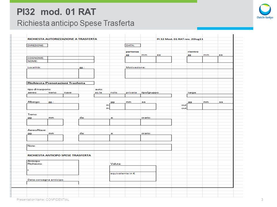 Presentation Name | CONFIDENTIAL 4 PI31 Mod. NS rev. 02 Nota Spese Richiesta Rimborso Spese