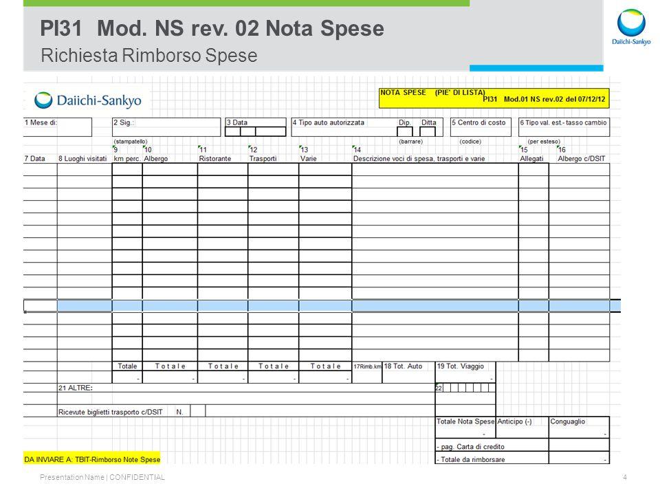 Presentation Name | CONFIDENTIAL 5 PI31 Mod.01 NS rev. 02 Nota Spese FAC -SIMILE
