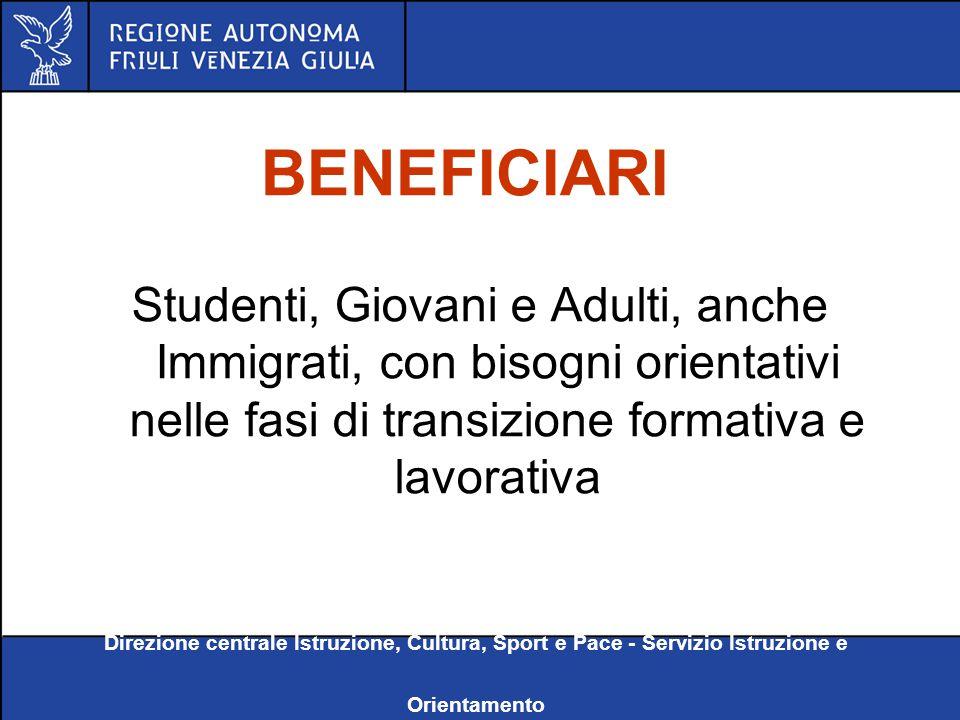 Direzione centrale Istruzione, Cultura, Sport e Pace - Servizio Istruzione e Orientamento BENEFICIARI Studenti, Giovani e Adulti, anche Immigrati, con