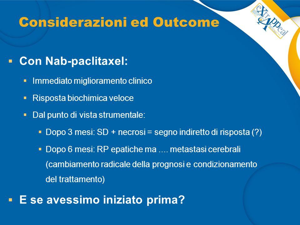 Considerazioni ed Outcome  Con Nab-paclitaxel:  Immediato miglioramento clinico  Risposta biochimica veloce  Dal punto di vista strumentale:  Dop