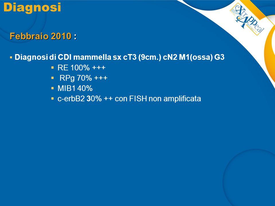 Diagnosi Febbraio 2010 :  Diagnosi di CDI mammella sx cT3 (9cm.) cN2 M1(ossa) G3  RE 100% +++  RPg 70% +++  MIB1 40%  c-erbB2 30% ++ con FISH non