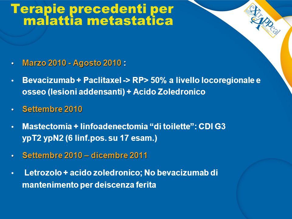 Terapie precedenti per malattia metastatica Marzo 2010 - Agosto 2010 : Marzo 2010 - Agosto 2010 : Bevacizumab + Paclitaxel -> RP> 50% a livello locore
