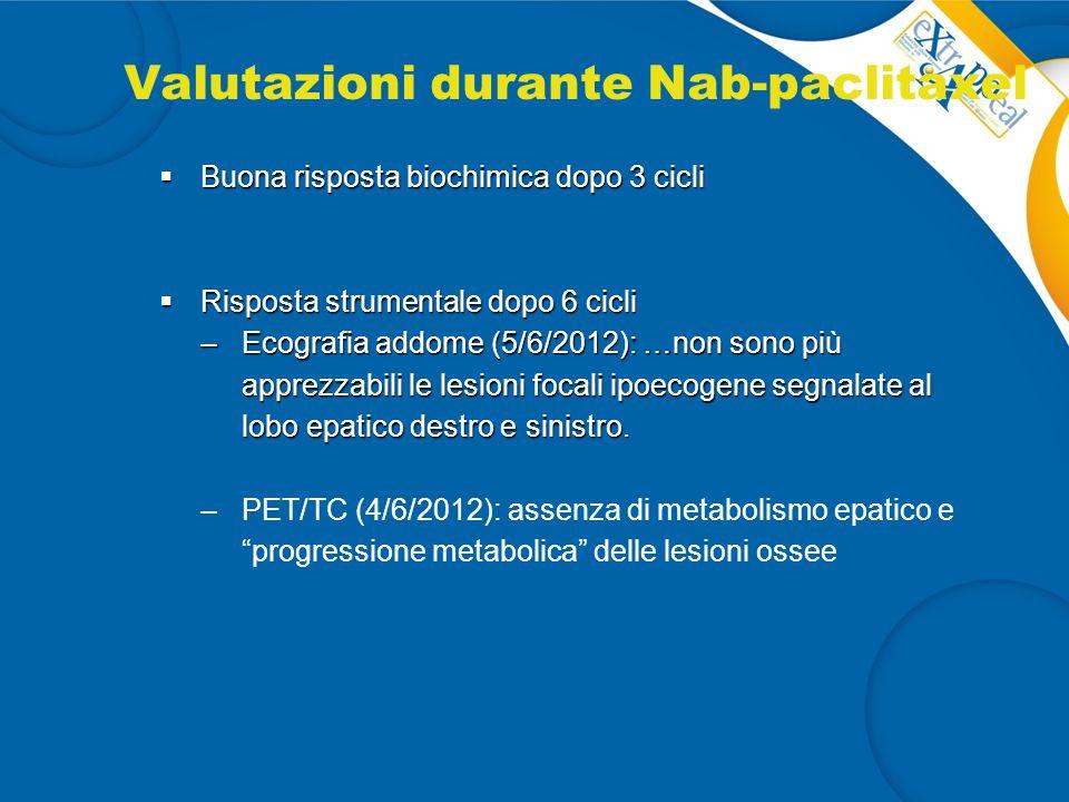 Valutazioni durante Nab-paclitaxel  Buona risposta biochimica dopo 3 cicli  Risposta strumentale dopo 6 cicli –Ecografia addome (5/6/2012): …non son