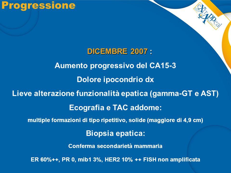 Progressione DICEMBRE 2007 : DICEMBRE 2007 : Aumento progressivo del CA15-3 Dolore ipocondrio dx Lieve alterazione funzionalità epatica (gamma-GT e AS